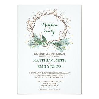 Winter Invite   Wedding Invitation Winter Wreath