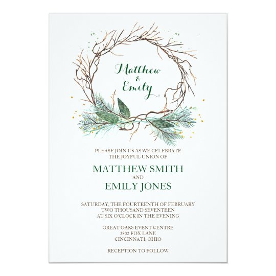 Wedding Invitation Winter Wreath Zazzlecom