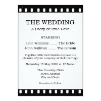 Wedding Invitation With A Movie Film Theme