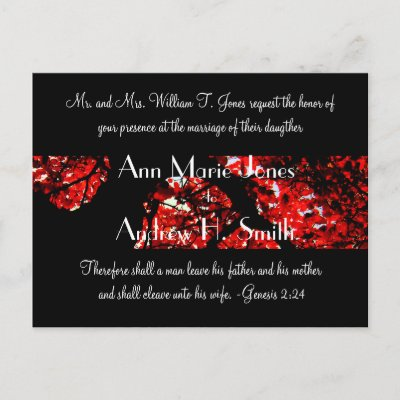 Wedding Invitation with Black With Red Leafed Tree Post Card by samack