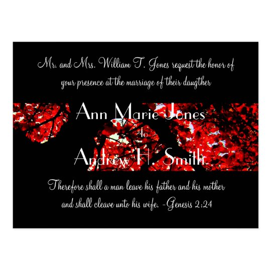 Wedding Invitation with Black With Red Leafed Tree Postcard