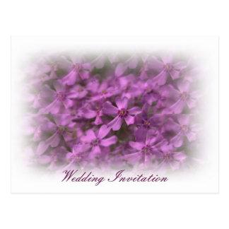 Wedding invitation with dreamy pink flowers postcard