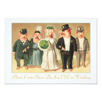 Wedding Invitation with Formal Pig Bridal Party