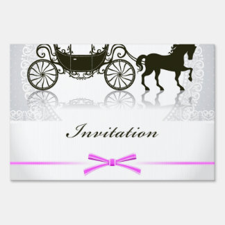 Wedding invitation with horse and buggy yard sign