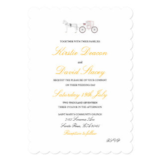 Wedding Invitation with Horse and Carriage Graphic
