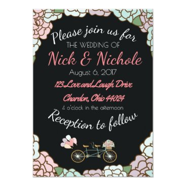 Beach Themed Wedding Invitation with Tandem Bicycle and Floral