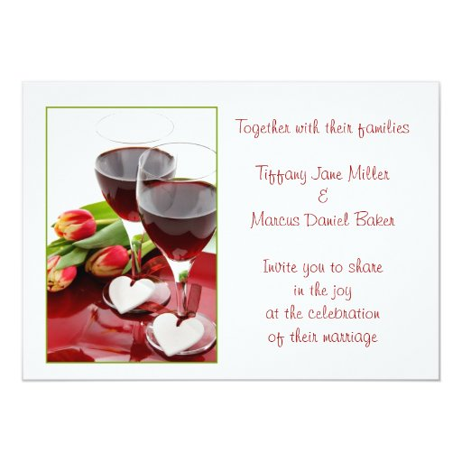 Wedding invitation with wine glasses and red wine zazzle for 3d wedding invitations glasses