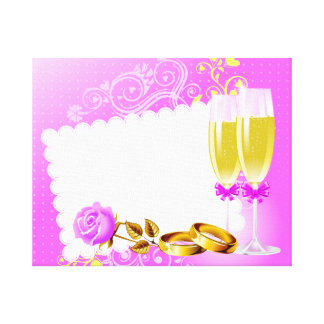 Wedding invitation with wine glasses,rings canvas print