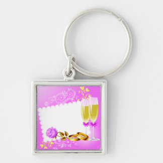 Wedding invitation with wine glasses,rings Silver-Colored square keychain