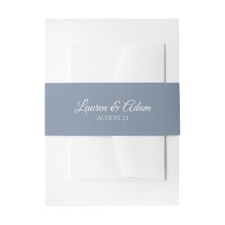 Wedding Invitation Wrap / Belly Band   Dusty Blue