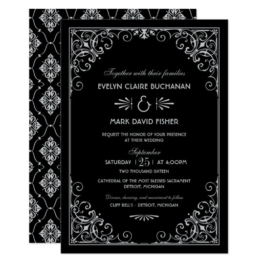 Wedding Invitations Art Deco Style