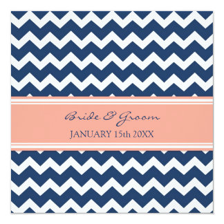Wedding Invitations Blue Coral Chevron