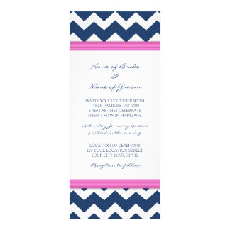Wedding Invitations Blue Hot Pink Chevron