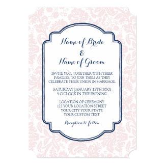 Wedding Invitations Blush Navy Blue Damask