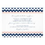 Wedding Invitations Coral Blue Chevron