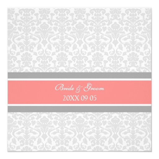 Wedding Invitations Coral Gray White Damask