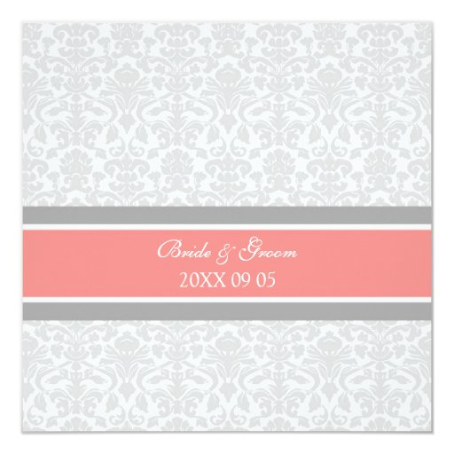 Wedding Invitations Coral Gray White Damask