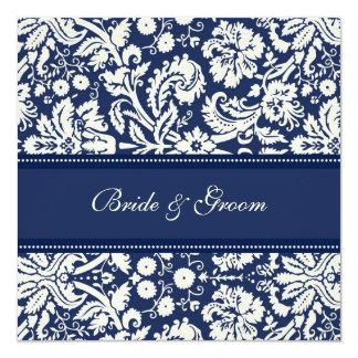 "Wedding Invitations Dark Blue Cream Damask 5.25"" Square Invitation Card"