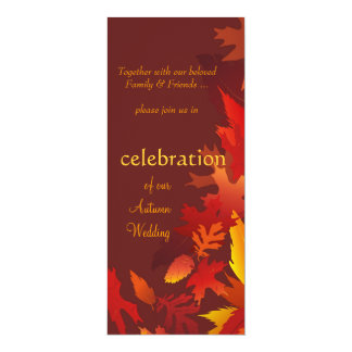 "Wedding Invitations - Festive Fall Autumn Weddings 4"" X 9.25"" Invitation Card"