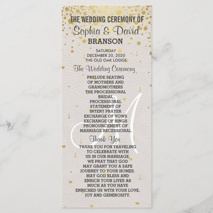 Wedding Invitations Gold Confetti