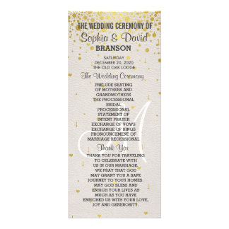 Wedding Invitations | Gold Confetti Custom Program