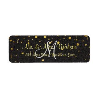 Wedding Invitations | Gold Confetti Monogram Label