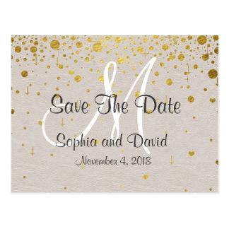Wedding Invitations | Gold Confetti SAVE THE DATE Postcard