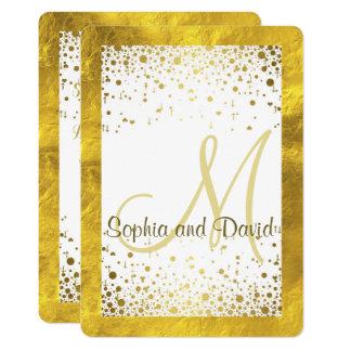 Wedding Invitations   Gold Foil Frame Confetti