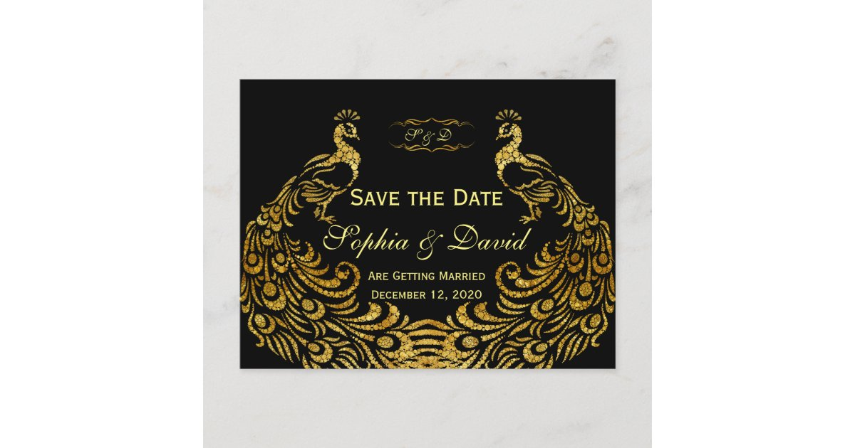 Wedding Invitations | Gold Peacock SAVE THE DATE | Zazzle.com