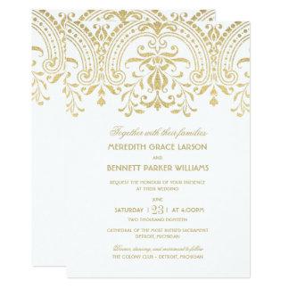 Wedding Invitations | Gold Vintage Glamour