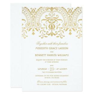 Wedding Invitations | Gold Vintage Glamour at Zazzle