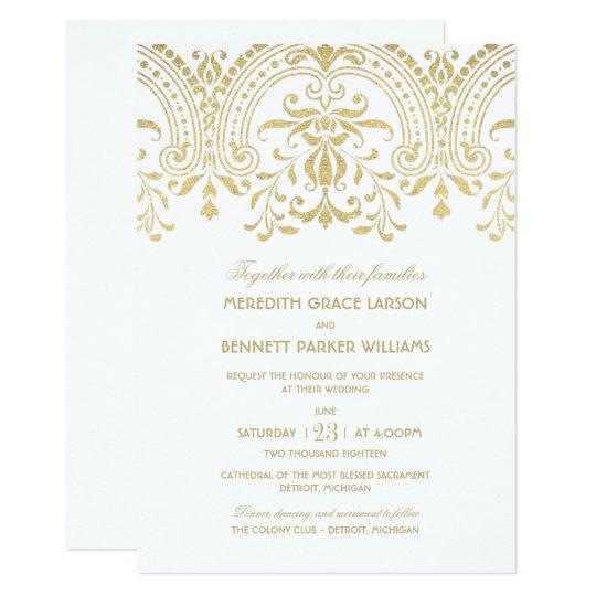Wedding Invitations  Gold Vintage Glamour