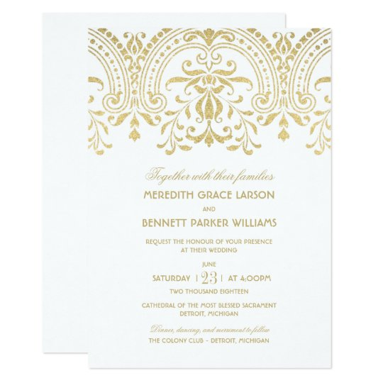 wedding invitations gold vintage glamour - Wedding Invitations Gold