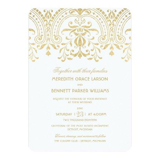 "Wedding Invitations | Gold Vintage Glamour 5"" X 7 ..."
