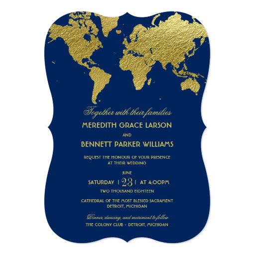 Wedding Invitations Gold World Map