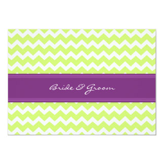 Wedding Invitations Green Plum Chevron