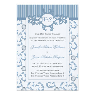 Wedding Invitations in Blues with Ornate Pattern