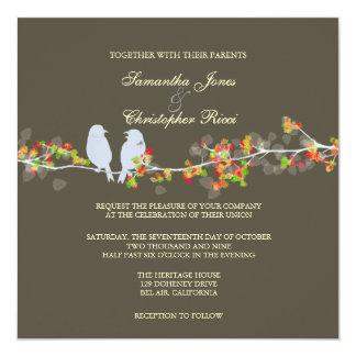 Wedding Invitations, love birds colorful blossoms Card