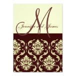 Wedding Invitations Monogram Brown Ivory Damask