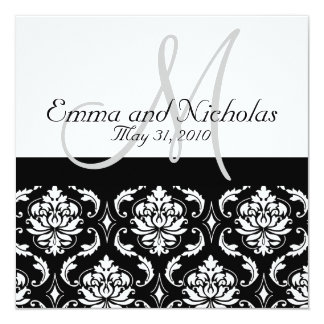 Wedding Invitations Monogram Damask