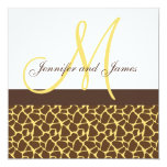 Wedding Invitations Monogram Giraffe Pattern