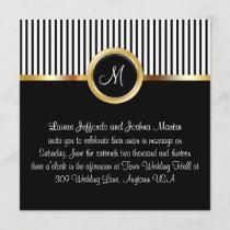 Wedding Invitations Monogram Gold Black