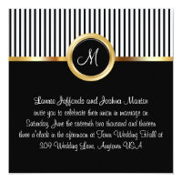 Wedding Invitations Monogram Gold Black