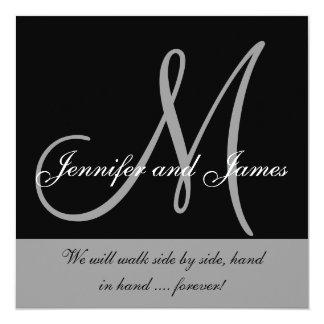 "Wedding Invitations Monogram Saying Black White 5.25"" Square Invitation Card"