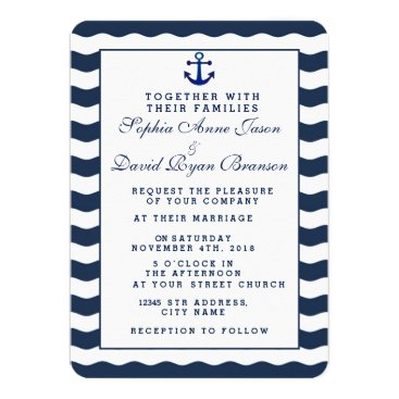Beach Themed Wedding Invitations | Nautical Navy Waves Anchor