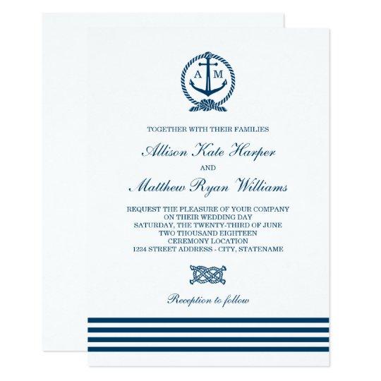 Nautical Themed Wedding Invitations: Nautical Stripes Theme