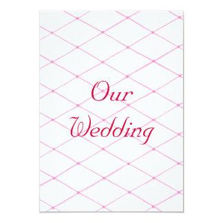 Wedding Invitations, Pink Crisscross on White Card