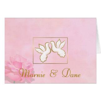 WEDDING INVITATIONS PINK LOVE DOVES FLOWERS SET