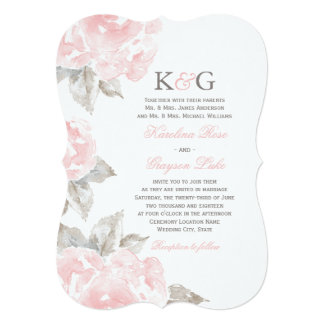 Wedding Invitations   Pink Watercolor Roses