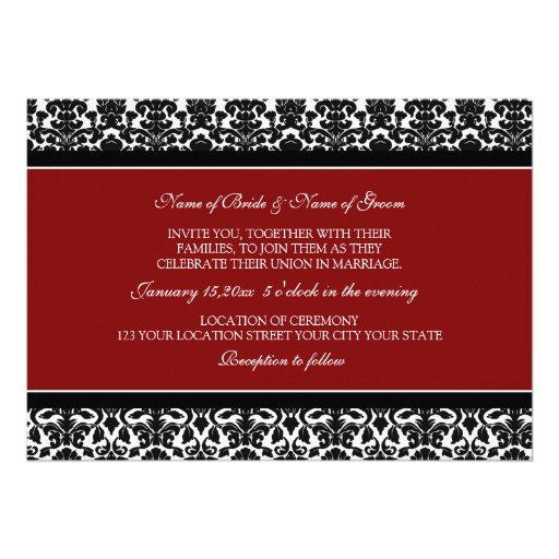 Wedding Invitations Red Black White Damask 5 X 7 Invitation Card